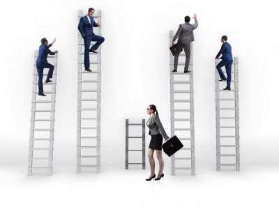 Concept of inequal career opportunities between man woman